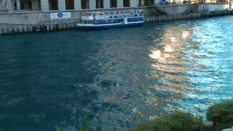 The Chicago River is a little bluer than normal -- it was dyed for Friday's parade.