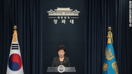 "South Korea's President Park Geun-Hye speaks during an address to the nation at the presidential Blue House in Seoul on November 4, 2016. Park on November 4 agreed to submit to questioning by prosecutors investigating a corruption scandal engulfing her administration, accepting that the damaging fallout was ""all my fault"". / AFP / POOL / Ed JONES AND Ed Jones        (Photo credit should read ED JONES/AFP/Getty Images)"