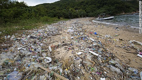 Trash washed up on the beach in Sok Ku Wan, Hong Kong.