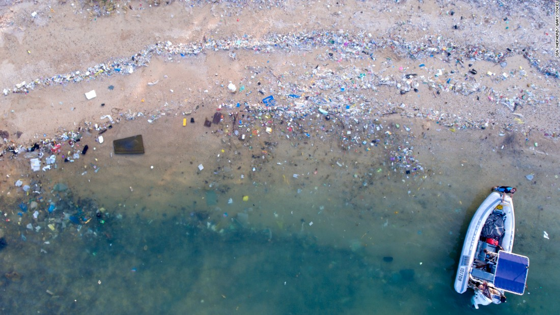Many of Hong Kong's beaches have been carpeted with plastic waste. Pictured, Sok Ku Wan beach.