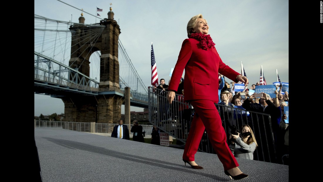Democratic presidential nominee Hillary Clinton arrives at a campaign rally in Cincinnati on Monday, October 31.