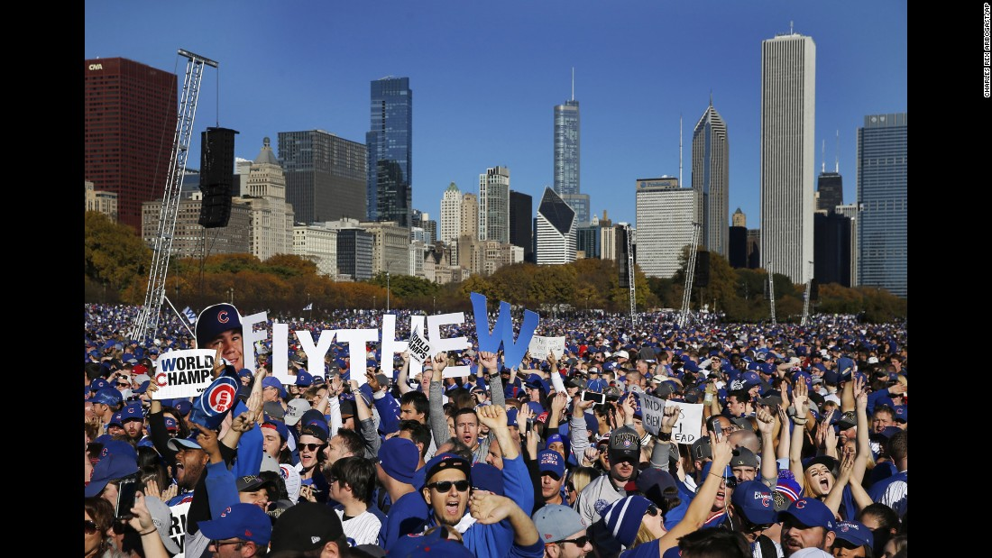 Cubs fans celebrate during a rally in Chicago's Grant Park on November 4.