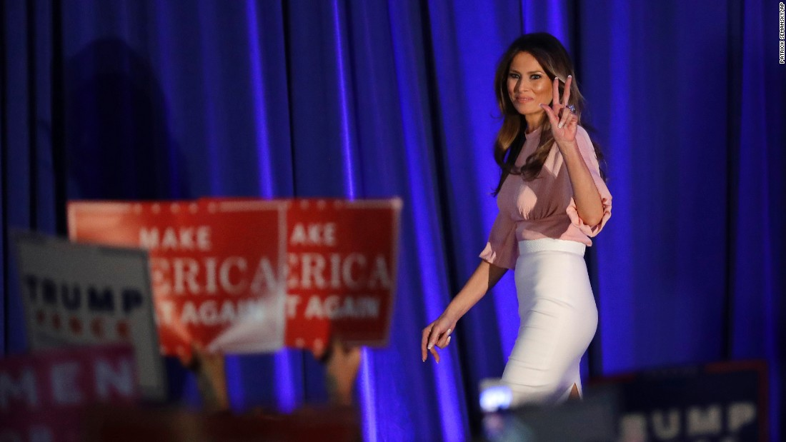 "Donald Trump's wife, Melania, walks on stage to <a href=""http://www.cnn.com/2016/11/03/politics/melania-trump-speech-pennsylvania/index.html"" target=""_blank"">deliver a speech </a>in Berwyn, Pennsylvania, on Thursday, November 3. She said that if she became first lady, she'd work to improve a social media culture that has gotten ""too mean and too tough"" -- riddled with insults based on ""looks and intelligence."""