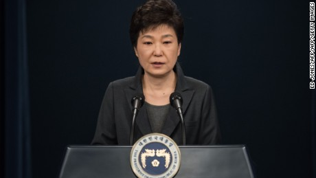 South Korea's President Park Geun-Hye speaking at the presidential Blue House in Seoul on November 4, 2016.