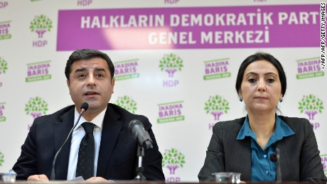 Co-chairs of the pro-Kurdish People's Democratic Party (HDP) Selahattin Demirtas, left, and Figen Yuksekdag.