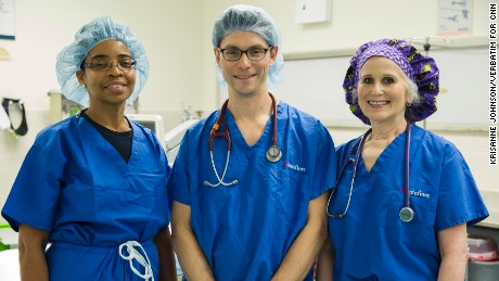 Drs. Carlene Broderick, left, Glenn Mann and Madelyn Kahana, anesthesiologists.