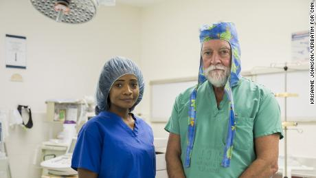 Kamilah Dowling, pediatric neurosurgery nurse practitioner, with Dr. James Goodrich.