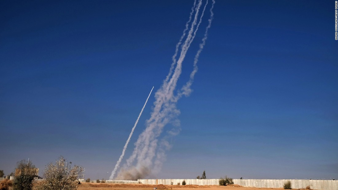 Rockets are fired from the Qayyara military base on November 4.