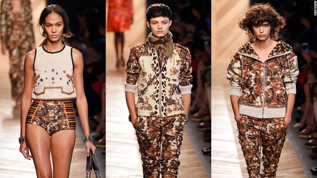 Camouflage is one of the most common military motifs in fashion today.