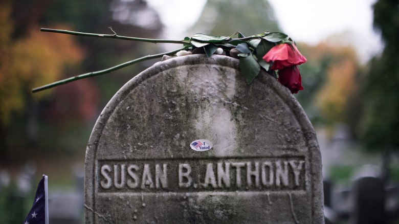 'I voted' stickers put on Susan B. Anthony's grave