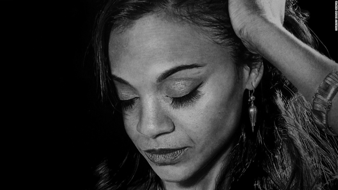 Pictured here, this portrait of Zoe Saldana is actually a drawing, eat strand of hair intricately produced.
