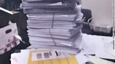 A photo introduced as evidence to the Delaware County Voter Registration Commission. It shows the stack of voter registration applications that were sent to Delaware County and collected by FieldWorks.