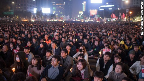 Demonstrators called for the resignation of South Korean President Park Geun-Hye in Gwanghwamun square in central Seoul on Saturday.