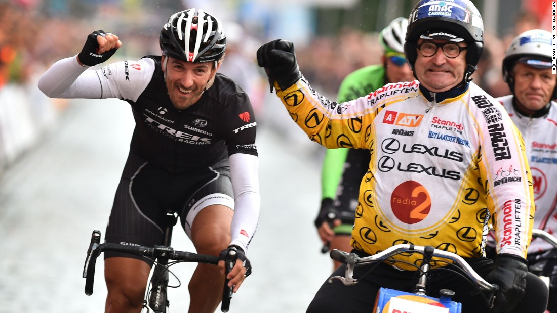 Huybrechts helped Olympic and world champion cyclist Fabian Cancellara to victory in a Derny Criterium race in Antwerp in 2014.