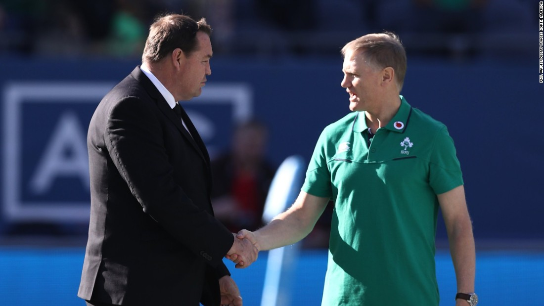 Opposing coaches Steve Hansen of New Zealand (left) and Joe Schmidt shake hands prior to kickoff.