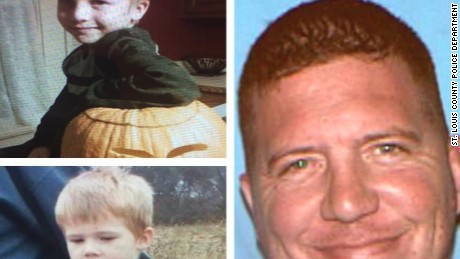Police issued an Amber Alert for the abduction of Ethan Cadenbach, 5, top, and Owen Cadenbach, 4,  by their father, Christopher Cadenbach, right.
