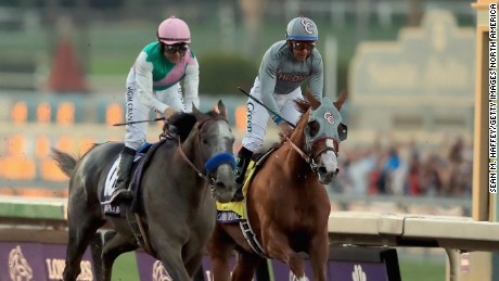 Arrogate (left) pipped long-time leader California Chrome to the Breeders' Cup Classic at Santa Anita Park.