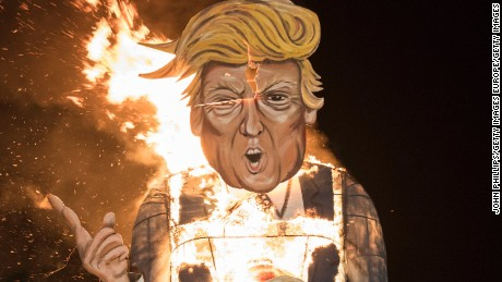 EDENBRIDGE, ENGLAND - NOVEMBER 05:  A Donald Trump Effigy Is Burnt At Edenbridge Bonfire Night on November 5, 2016 in Edenbridge, England.  (Photo by John Phillips/Getty Images)