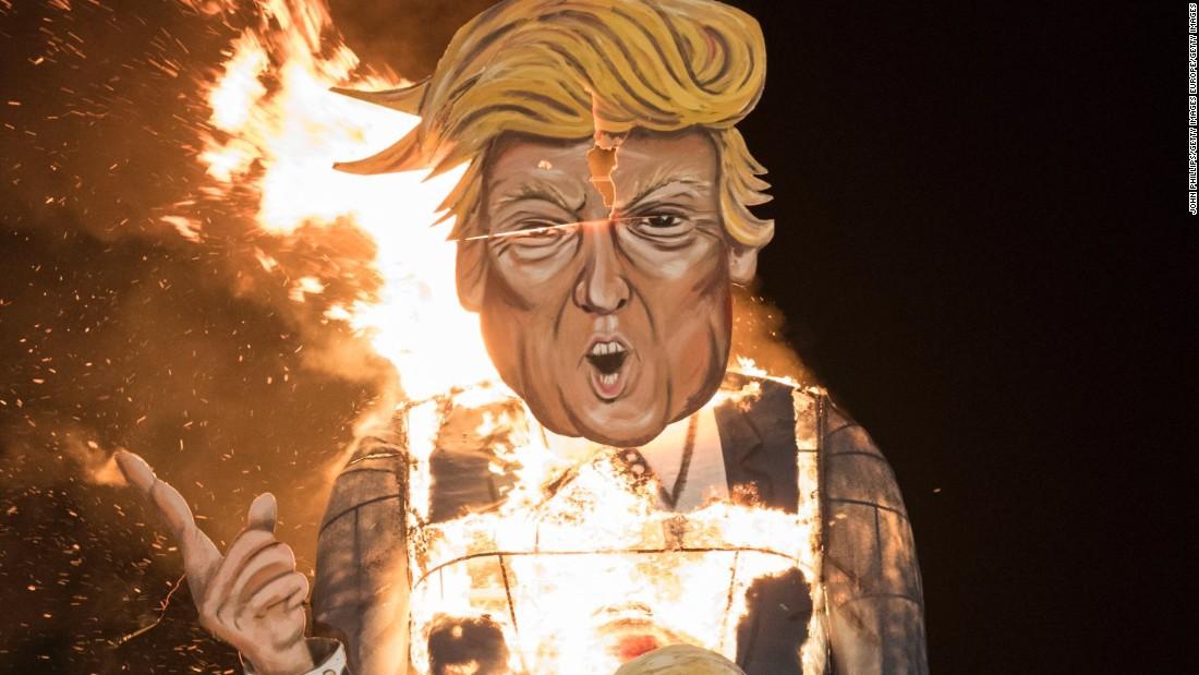 Donald Trump effigies burned across England for Bonfire ...