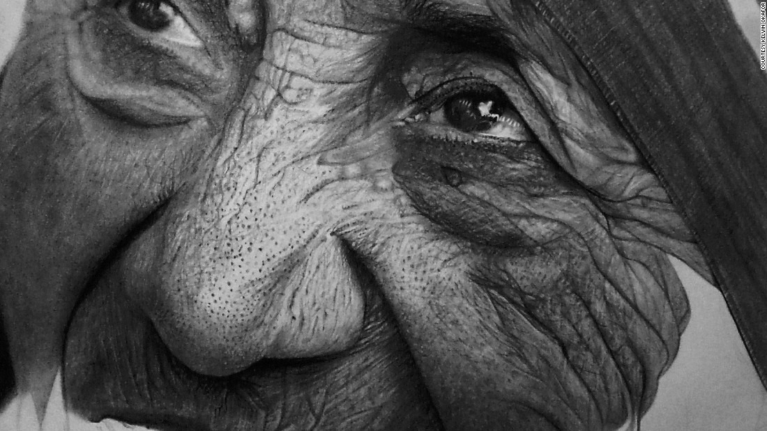Mother Teresa is given the pencil photo-real treatment in this partially complete drawing.