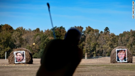 Jerry Wallace of Marshall, Texas, chips a golf ball toward a target  at Alpine Target Golf in Longview, Texas.