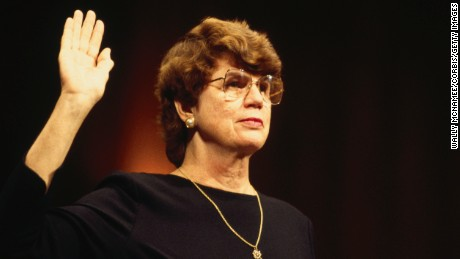 Janet Reno raises her arm to take an oath during congressional hearings for her nomination as Attorney General of the United States. (Photo by © Wally McNamee/CORBIS/Corbis via Getty Images)