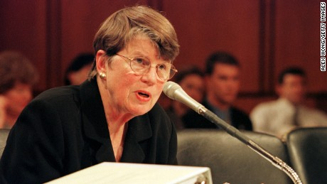 Attorney General Janet Reno testifies during a hearing on a 1996 campaign finance investigation on June 27, 2000, in Washington.