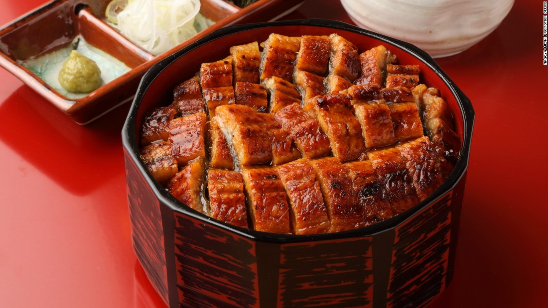 Nagoya's style of cooking eel involves slitting it open along the belly then grilling it whole. The dish is divided into four portions and comes with condiments as well as a broth, which is poured over it.