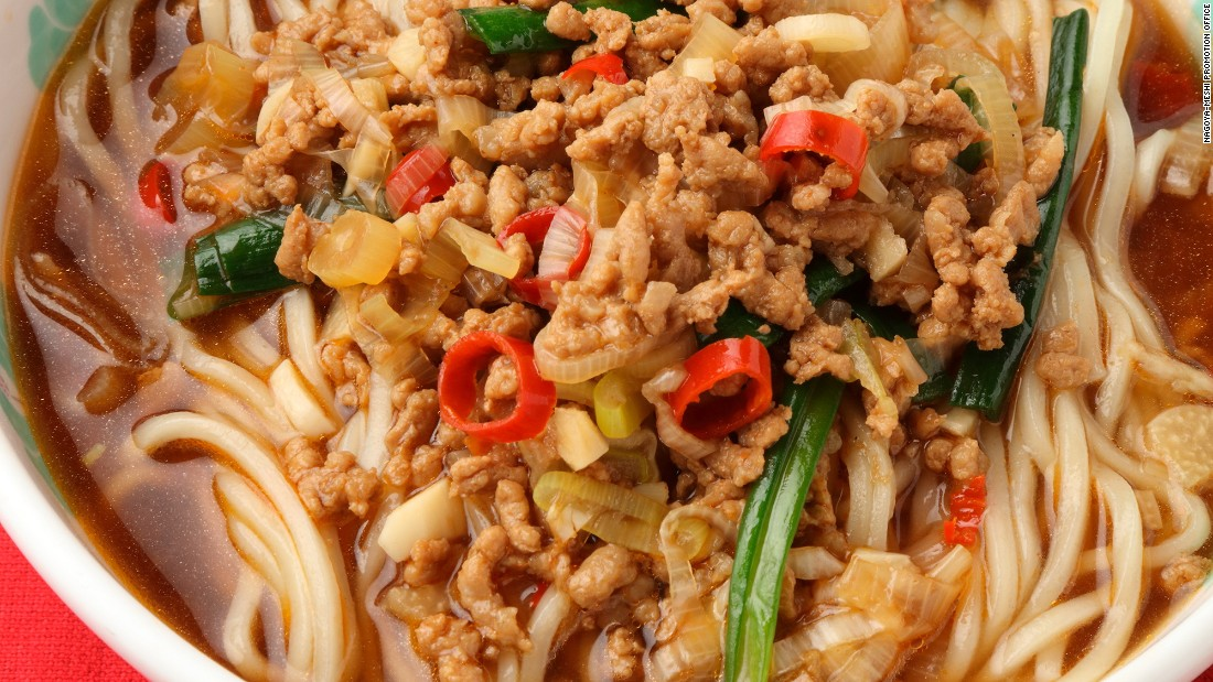 Ground pork, Chinese chives, green onions and bean sprouts are seasoned with red peppers and other spices, fried, then placed on boiled ramen noodles in a soy sauce-based soup. Though the name suggests it comes from Taiwan, it was actually born in Nagoya.