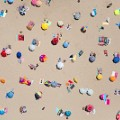Aerial beach photo Lisbon Umbrellas