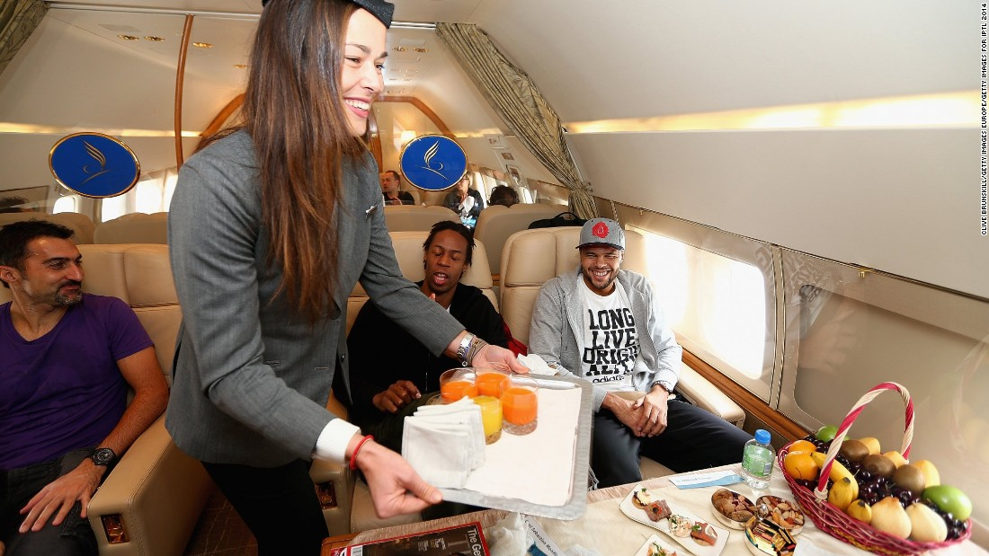 And there is much to be said for good company, food and drink. Ana Ivanovic offers drinks to Jo-Wilfried Tsonga and Gael Monfils.