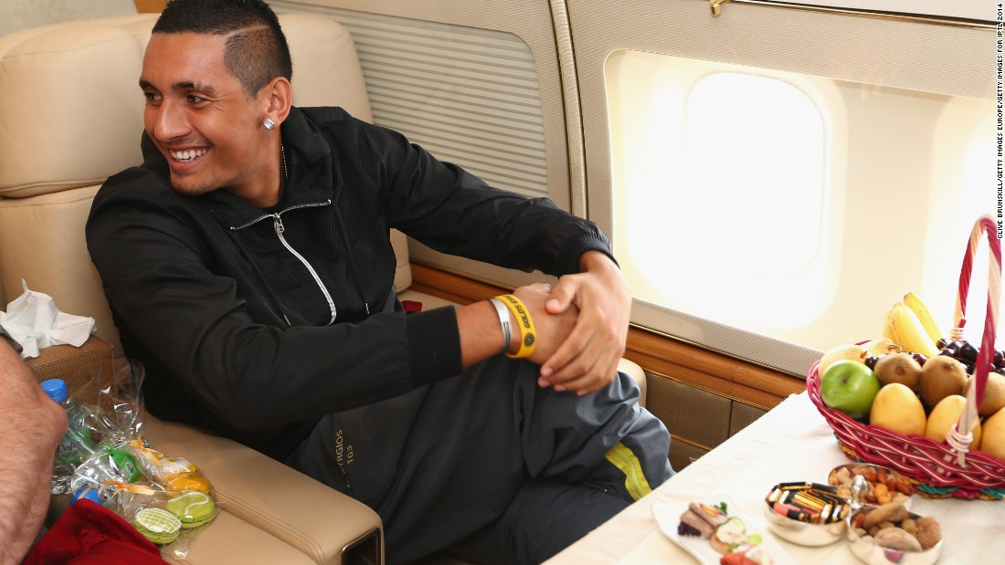 But it's not always economy class and long delays; players are also treated to private jets and five-star service. Here, Nick Kyrgios, a member of the Singapore Slammers, travels to Singapore prior to an International Premier Tennis League match in 2014.