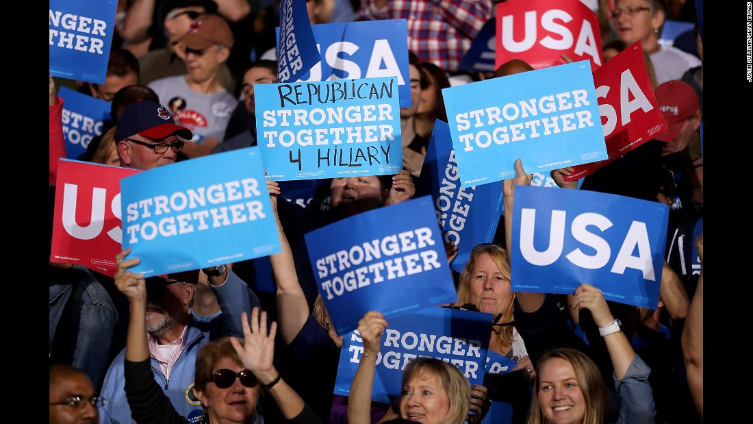 Clinton supporters hold signs in Cleveland on November 6.