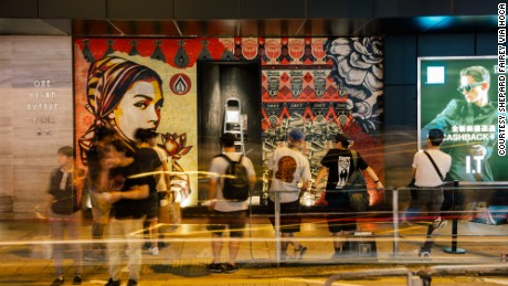 "Fairey created public murals in Hong Kong alongside the ""Visual Disobedience"" show"