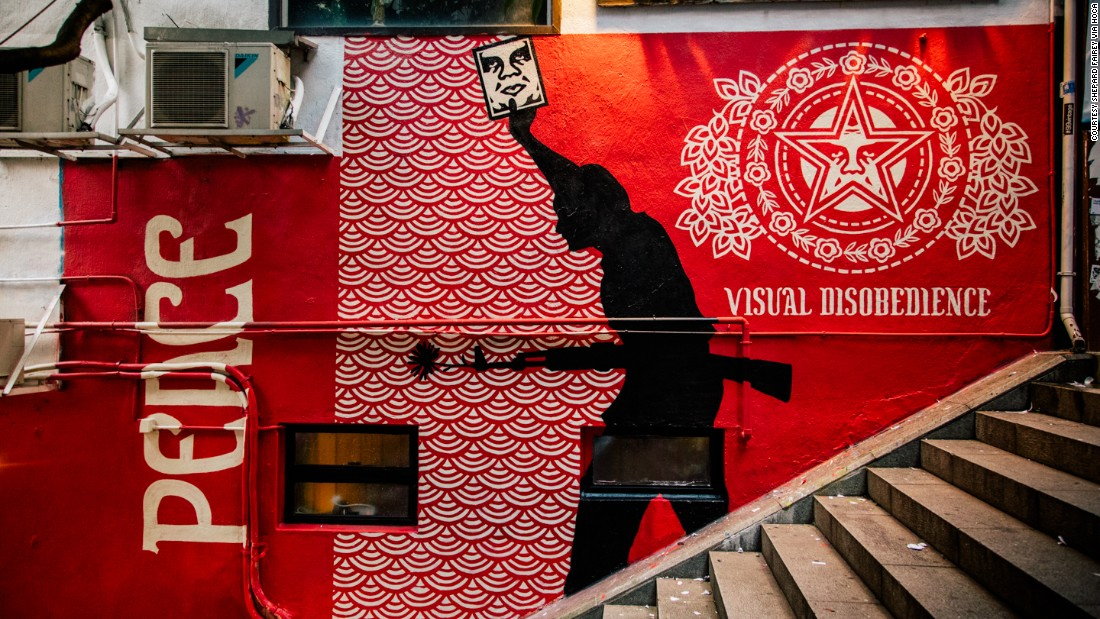 This image by Fairey appeared on Hong Kong streets to coincide with a large exhibition of his works.
