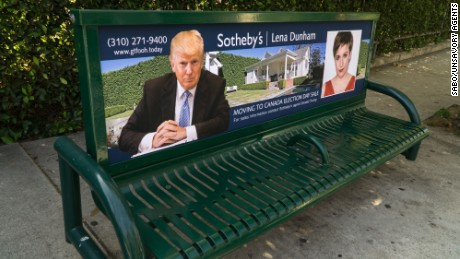Sabo mocks celebrities like Cher and Lena Dunham for threatening to leave the country if Trump wins by posting ads announcing their moving sales on benches around Los Angeles.