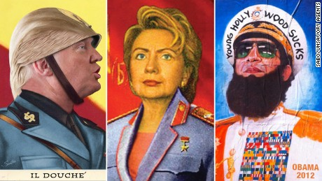 "Sabo depicts Hillary Clinton as a Soviet Union leader, Donald Trump as Italy's Benito Mussolini and President Barack Obama as Gen. Aladeen from the film, ""The Dictator."""