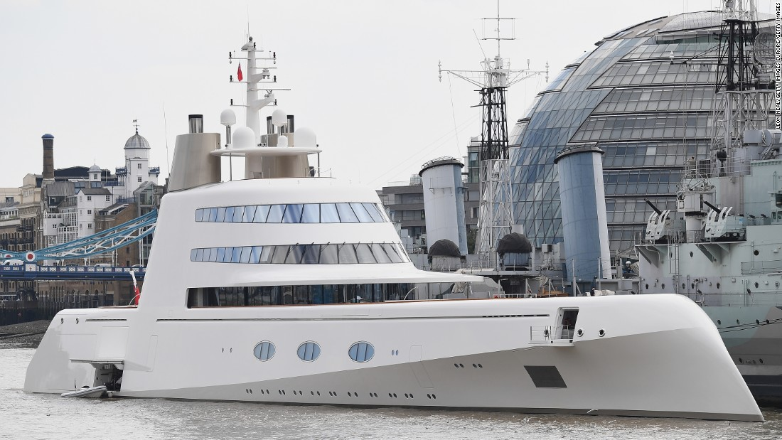 Motor Yacht A, which was completed in 2008, cost Melnichenko a reported $300 million.  It is pictured moored on London's River Thames in September 2016.