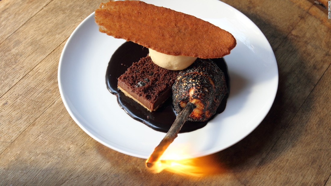 "The restaurant was awarded its first Michelin star in 2010. Pictured, its ""smores en fuego,"" <em>Photo courtesy Mark Rywelski.</em>"