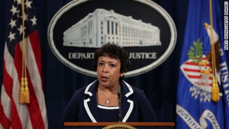 WASHINGTON, DC - JULY 08:  U.S. Attorney General Loretta Lynch speaks to members of the media as she makes a statement on the Dallas killing of police officers July 8, 2016 at the Justice Department in Washington, DC. Five police officers were shot dead by snipers during a Black Lives Matter protest against police violence in Dallas, Texas, on Thursday night.  (Photo by Alex Wong/Getty Images)
