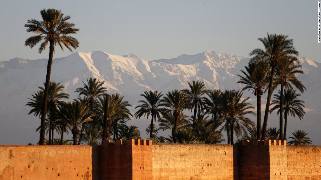 The Atlas Mountains stand between Marrakech (pictured) and the Sahara. Fifty miles from the city is the country's premier resort Oukaimeden, where weekenders and daytrippers buckle up and explore the relatively quiet ski area.