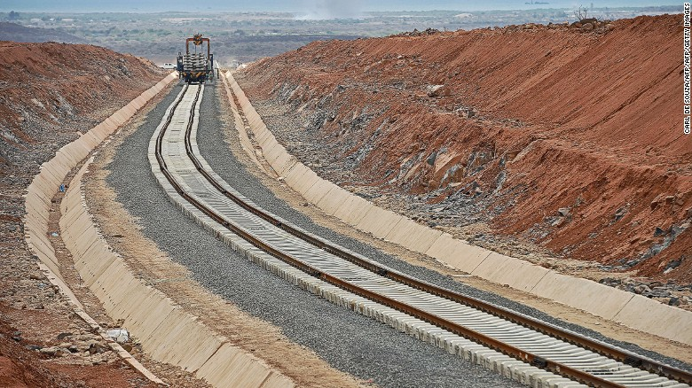 Picture taken on May 5, 2015, shows work in progress on the new railway tracks linking Djibouti with Addis Ababa.