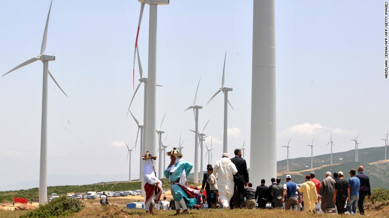 The wind farm in Melloussa, 21 miles from Tangiers in northern Morocco, has 165 turbines, with a production capacity of 140 megawatts.