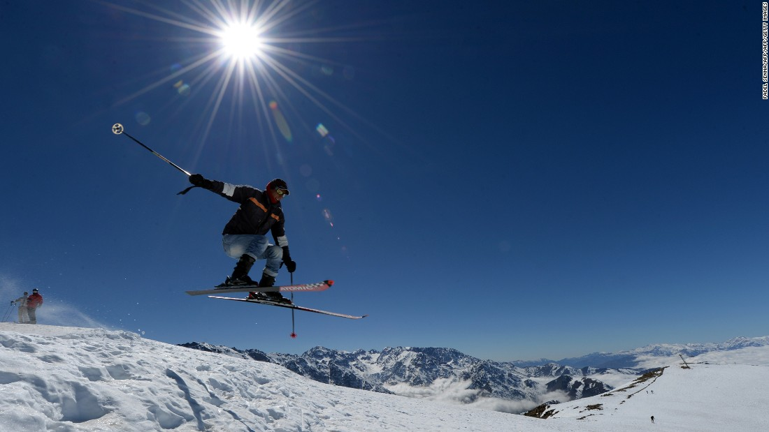 A skier catches some air in Oukaimeden on a bluebird day.