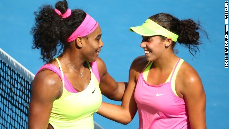 MELBOURNE, AUSTRALIA - JANUARY 29:  Serena Williams of the United States hugs Madison Keys of the United States after Williams won their semifinal match during day 11 of the 2015 Australian Open at Melbourne Park on January 29, 2015 in Melbourne, Australia.  (Photo by Scott Barbour/Getty Images)