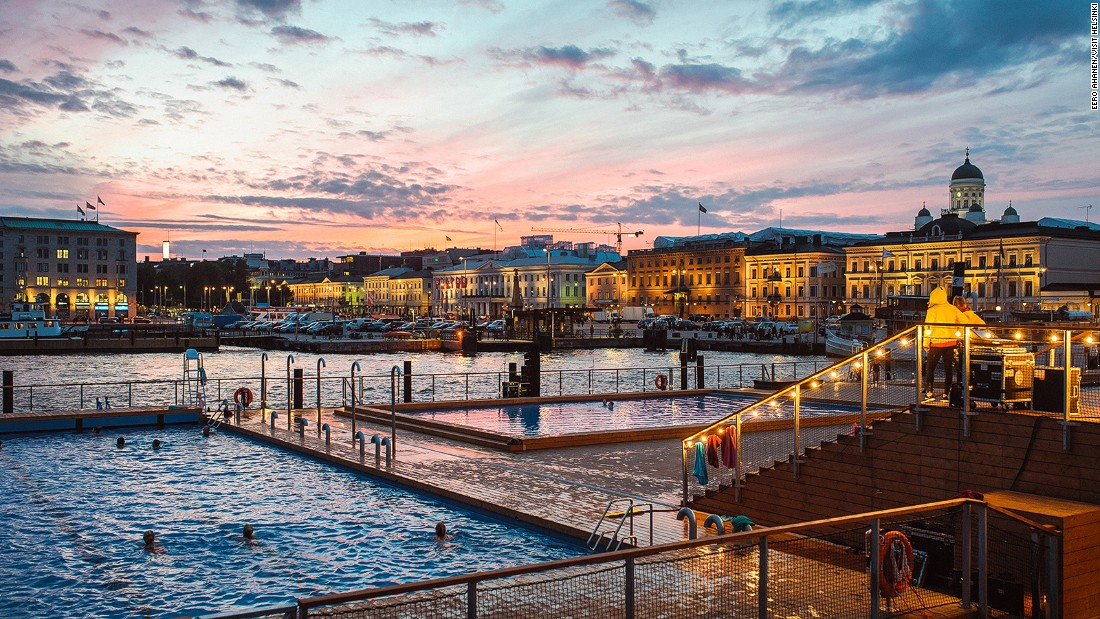 Sitting in the heart of Helsinki, Allas Sea Pool boasts several saunas and three pools on a floating deck facing the sea. It's one of the newest saunas in town.