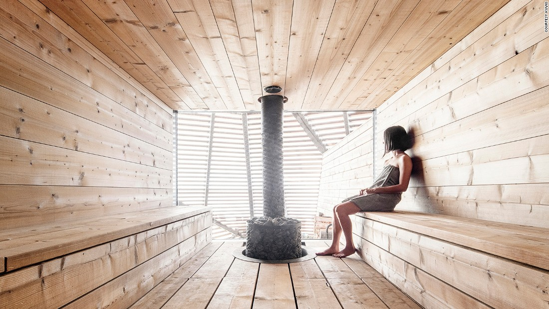 Finnish saunas are hot -- up to 100 C. Anyone using them should drink lots of water and take breaks to cool down.