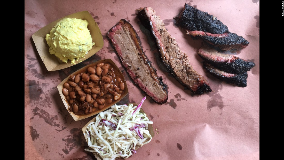 The world-famous Franklin Barbecue in Austin, with this order of brisket and three sides, is classic Central Texas barbecue. This style originated in meat markets smoking leftover raw meat and serving it as barbecue, Vaughn said.