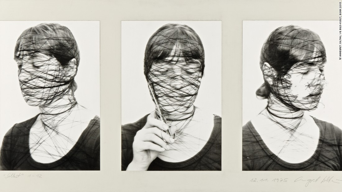"""The wrapped self-portraits and portraits of others make visible the ties that bind of, and the control that others exert upon us,"" author Madeline Schwartzman writes of artist Annegret Soltau's work. <br /><em><br />""Selbst, 1-12"" (1975-76) by Annegret Soltau</em>"