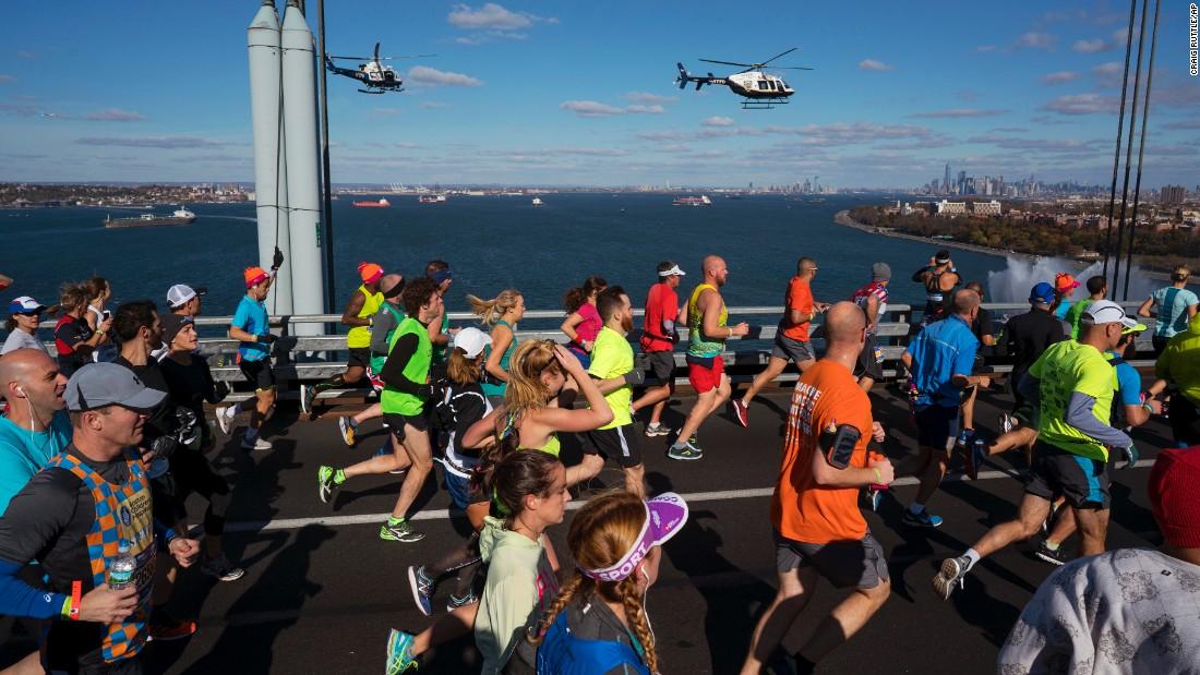 "Runners cross the Verrazano-Narrows Bridge during the <a href=""http://www.cnn.com/2016/11/06/sport/ghirmay-ghebreslassie-new-york-city-marathon/"" target=""_blank"">New York City Marathon</a> on Sunday, November 6."